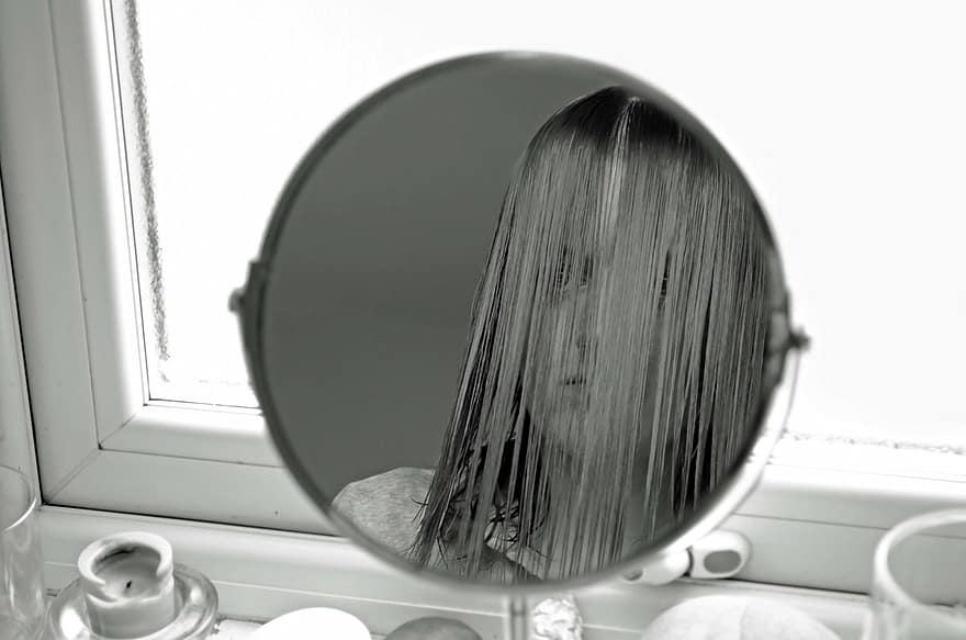 female-look-people-mirror-dissatisfaction-black-white-reflection-girl